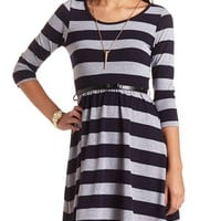 BELTED STRIPED SWEATER KNIT SKATER DRESS