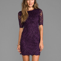 Shoshanna Magnolia Lace Davina Dress in Dark Violet