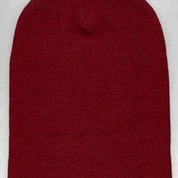 Knit Beanie Ski Cap Hat In Burgundy Red