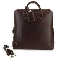 "Handmade Genuine Leather Briefcase Tote Handbag Messenger 14"" Laptop / 15"" Macbook Pro Bag(z16)"