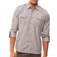 191 Unlimited Men's Grey Button-Front Woven Shirt
