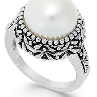 Sterling Silver Ring, Cultured Freshwater Pearl Button Ring (11mm)