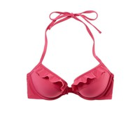 Aerie Women's Brooke Pushup Ruffle Bikini Top (Hibiscus)