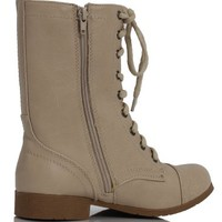 Putty Beige Combat Lace-Up Riding Mid-Calf Boots Soda Relax Putty PU 75