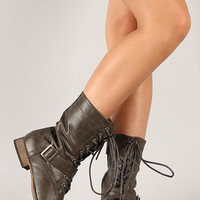 Breckelle Georgia-86 Military Lace Up Mid Calf Boot