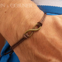 Gold Infinity Men's Bracelet Waxed Cord Adjustable Bracelet for Men Gift for Him Unisex