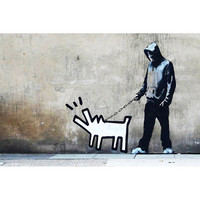 Banksy 'Choose Your Weapon Keith Haring Dog' Canvas Art