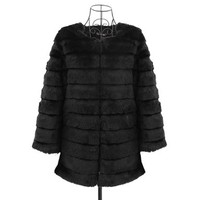 Fasion Women Faux Rabbit Fur Coat Long Jacket Warm Parka Ladies Fluffy Overcoat