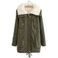 Fashion Women Winter Parka Fur Collar Thick Padded Long Coat Outerwear Jacket