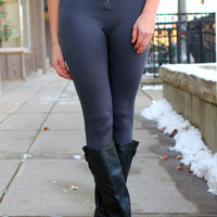 Zip It Up High Rise Leggings - Grey
