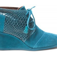 TOMS+ Teal Serpentine Desert Wedges