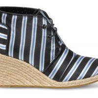 TOMS+ Tabitha Simmons Blue Cricket Stripe Women's Desert Wedges