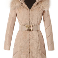 ROMWE | ROMWE Faux Fur Hooded Belt Cream Down Coat, The Latest Street Fashion