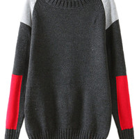 ROMWE | ROMWE Color Block Diamond Grey Jumper, The Latest Street Fashion