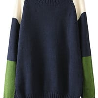 ROMWE | ROMWE Color Block Diamond Blue Jumper, The Latest Street Fashion