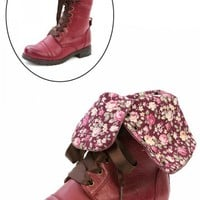 Diva Lounge Timberly-43 Cherry Red Floral Cuff Lace Up Combat Boots and Shop Boots at MakeMeChic.com