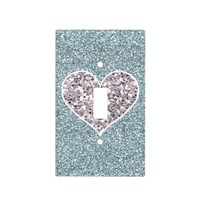 Blue Glitter with Sparkly Heart