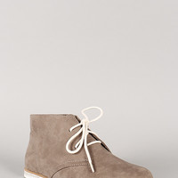 Qupid Strip-123 Suede Round Toe Lace Up Desert Bootie