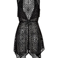 Anna Sui - Sheer Crochet Lace Draped Hem Dress
