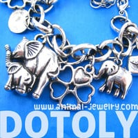 Mother and Baby Elephant Floral Charm Bracelet in Silver