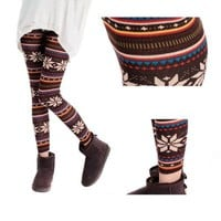 ChineOn Multi-Style Women's Xmas Nordic Snowflake Knitted Leggings Tights Pants