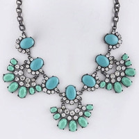 Colors & Crystals Gunmetal Fan Necklace - Turquoise/Mint | .H.C.B.