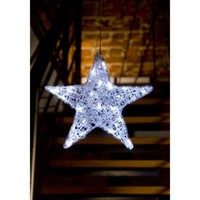 Konstsmide Acrylic Hanging Star with White LED's - Konstsmide from Castlegate Lights UK