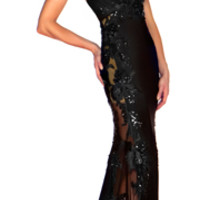 SALE! Mac Duggal 2013 Prom Dresses - Black Halter Sheer Dress