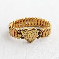 Vintage Gold Filled Monogrammed Heart Expansion Bracelet - Mid Century WWII 1940s Stretch Sweetheart Jewelry/ American Queen-Pitman & Keeler
