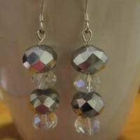Gray/Clear Crystal w/Gray Crystal Dangle Glass Bead Sterling Silver Earrings