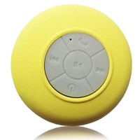 FreshETech Waterproof Bluetooth Wireless Shower Speaker Portable Speakerphone (Yellow)