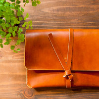 Leather iPad Case iPad Portfolio - Leather, Hand-Stitched, Top Grade, Saddle Tan