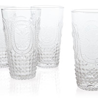 S/4 Embossed Highball Glasses, Clear