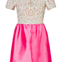 Valentino - Silk Embellished Bodice Dress in Ivory and Pink