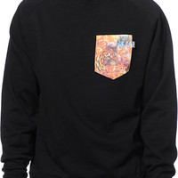 Bonham Space Animals Black Crew Neck Pocket Sweatshirt