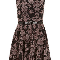 Black printed baroque dress