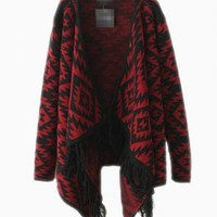 Red & Black Geometric Print Drape Sweater with Fringe Detail