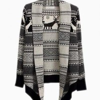 Black & White Deer Print Open Draped Sweater