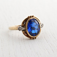 Antique 10k Yellow Gold & Sapphire Blue Stone Ring - Art Deco Size 6 1/2 Vintage Fine Jewelry / Deep Sea Blue