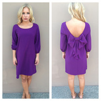 Purple Bow Back 3/4 Sleeve Dress
