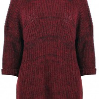 Berry Red Oversized Knit Sweater