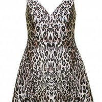 Leopard Print Scuba Skater Dress with Cutout Back