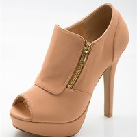 Serious Style Side Zip Peep Toe Booties - Nude