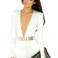 Missguided - Bluu Belted Playsuit In Cream