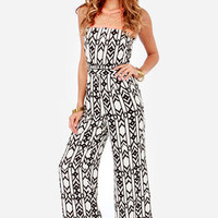 Called Away Black and Ivory Print Jumpsuit