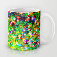 HOLIDAY CHEER - Bold Christmas Festive Green Red Yellow Sparkle Stars Glitter Bling Abstract Art Mug by EbiEmporium