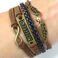 friendship bracelets- infinite love bracelets, leather bracelets ,mens womens bracelets,personalized bracelets -best friend gifts 429