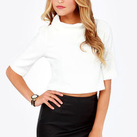 Chart Cropping Ivory Crop Top