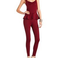 ZIP-BACK PONTE PEPLUM JUMPSUIT