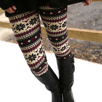 Burgundy Snowflake Leggings